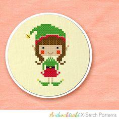 Kitschy Digitals :: Sewing & Needlework Patterns :: Christmas Elf Girl Cross-Stitch Pattern