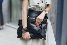 Valentino Leather Rockstud Zip Clutch – Gleaming pyramid studs outlining a buttery-soft calfskin clutch update a sleek, timeless design with a touch of contemporary edge. Zip closure with studded leather pull. Elle Fashion, Couture Fashion, Fashion Bags, Womens Fashion, Street Chic, Street Style, Street Fashion, Valentino Black, Trends