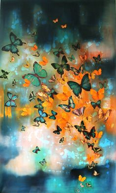 """Saatchi Art Artist Lily Greenwood; Painting, """"Butterflies on Prussian…"""