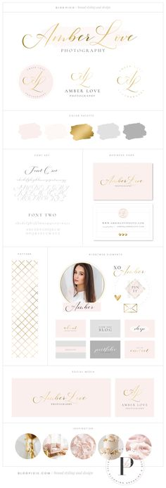Blush and gold logo design and feminine branding package with watermarks, business card design, blog and social media graphics.