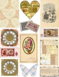 Free Collage Sheets by Art and imagesbykim  vintage looking labels and artwork