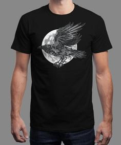 """""""Send A Raven"""" is today's £8/€10/$12 tee for 24 hours only on www.Qwertee.com Pin this for a chance to win a FREE TEE this weekend. Follow us on pinterest.com/qwertee for a second! Thanks:)"""