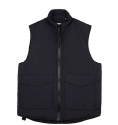 Our Legacy Puffed Vest in Navy Coating. Made from an Italian resin-coated fabric and insulated for extra warmth, the Puffed Vest features RiRi plastic zips, large patch pockets and a funnel collar. Puff Vest, Our Legacy, Vest Jacket, Jackets, How To Wear, Fashion, Vest Coat, Down Jackets, Moda