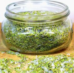 Rosemary Salt - 2 parts dried rosemary, 1 part extra coarse sea salt - store 2-3 months to keep rosemary flavor strong, good w fried potatoes, fried eggs, with any vegetable,