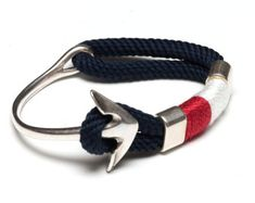 Nautical Rope Bracelet / Nautical Anchor Bracelet / Navy Blue