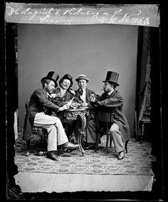 """Grupporträtt, enligt påskrift """"Supgrupp"""", av bl a Holmqvist och Holmberg.  Foto: Wilhelm Lundberg, 1864"""