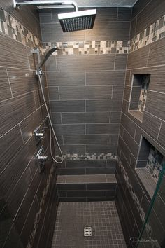 Shower Niche in a bathroom remodel completed by Griffin Construction in Houston, Tx