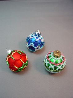Mini Beaded Christmas Ornament Cover Pattern Collection #1