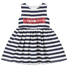 Blue Stripe Dress for Girl by Moschino Baby. Discover more beautiful designer Dresses for kids online at Childrensalon.co.
