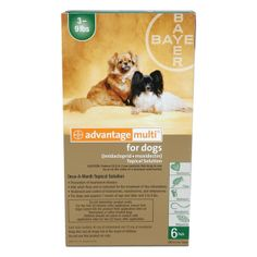 Advantage Multi for Dogs 3-9 lbs 6 pack  Heartworm prevention and much more.  Advantage Multi® for Dogs, one convenient topical application:      Kills adult fleas, treats flea infestations     Treats and controls common intestinal parasites: roundworms, hookworms, and whipworms      The first and only product approved for the treatment of circulating heartworm microfilaria and is also now labeled for treatment and control of sarcoptic mange.