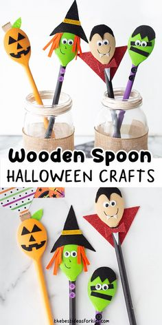Halloween Wooden Spoons - such a cute Halloween craft for kids! These wooden spoons are really easy to make and make great story spoons, puppets or decor.