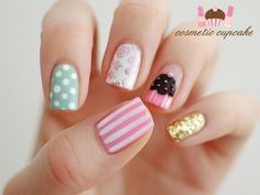 Every nail a different design. Adorable!