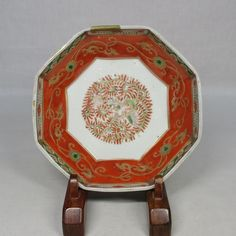 B001: REAL Japanese old IMARI colored porcelain ware octagonal plate in 18c.OSELLAME's Collection