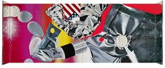 James Rosenquist, Flamingo Capsule, 1970. Oil on canvas and aluminized Mylar, 9 feet 6 3/16 inches x 22 feet 11 15/16 inches (290 x 701 cm)