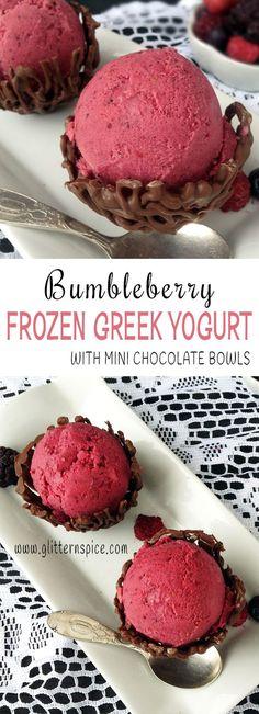 Bumbleberry Frozen Greek Yogurt Recipe With Mini Chocolate Bowls