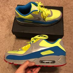 huge selection of b7171 130ad Nike Shoes   Vnds Nike Id Air Max 90 Volt Blue Silver Custom 9   Color  Blue  Yellow   Size  9