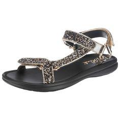 Diese extravaganten Blink® by BRONX Sandaletten werden zum echten Hingucker durch das funkelnde Obermaterial, welches mit glamourösen Glitzerpartikeln besetzt ist.