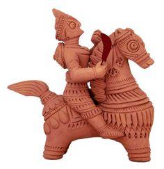 Soldier on Horse - Terracotta Statue - Terracotta Sculpture (Terracotta) Indian Gods, Indian Art, Copper Artwork, Indus Valley Civilization, Cow Face, Horse Artwork, Beautiful Stories, Sculpture Clay, Deities