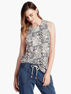 Lucky Brand Light Patchwork Tank Womens - Mauve Multi (M)