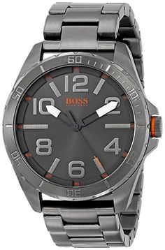 This sleek watch by BOSS Orange is built with an ionic plated case and ionic plated grey strap as well. A grey face and orange logo and details give this a bold design. Cute Watches, Watches For Men, Grey Watch, Hugo Boss Orange, Orange Logo, Stainless Steel Watch, Casio Watch, Quartz, Berlin