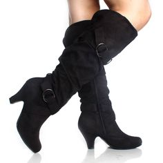 black knee high boots slouch tall buckle faux suede