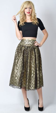 Vintage 80s Gold Lame Retro Skirt High Waist by thekissingtree