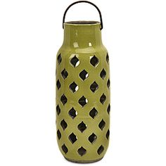 @Overstock.com - This large Moroccan ceramic lantern is simply beautiful and can add dimension to any decor. This elegant lantern is handcrafted by artisans in China, helping preserve their traditions.  http://www.overstock.com/Home-Garden/Handcrafted-Argento-Large-Moroccan-Lantern/5179507/product.html?CID=214117 $64.99