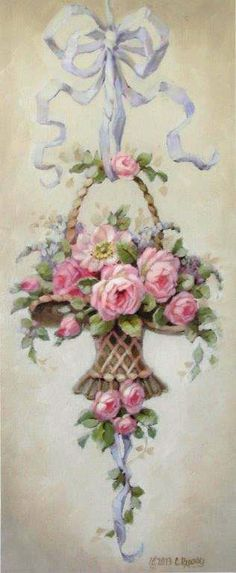 Christie Repasy Marche Aux Fleurs Canvas Giclee, featuring a ribbon hanged basket with pink roses, this canvas print is an original painting by Christie Repasy. Images Vintage, Vintage Cards, Vintage Paper, Vintage Postcards, Art Floral, Vintage Flowers, Vintage Floral, Decoration Shabby, Vintage Rosen
