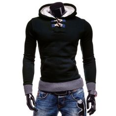 Stylish Hooded Horn Button Patched Splicing Slimming Long Sleeve Polyester Hoodie For Men Hoodies For Sale, Cool Hoodies, Der Gentleman, Pullover Designs, Mens Sweatshirts, Black Hoodie, Adulting, Shirt Style, Mens Fashion