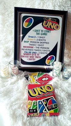 Drunk UNO, Drinking Game, UNO with Shot Glasses, UNO Drink Game with cards - A fun game of UNO with a little twist! This game comes with 4 UNO themed shot glasses, a deck of ca - Uno Drinking Game, Drinking Games For Parties, Drinking Games With Cards, Best Drinking Games, Monopoly Drinking Game, Outdoor Drinking Games, Drinking Board Games, Teen Party Games, Halloween Party Games