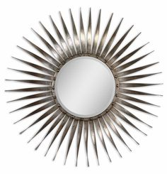 "SUNBURST MIRROR OPTION FOR OVER ROOM&BOARD ENTRY TABLE | Uttermost Sedona Silver Ray Beveled Mirror 42""DIA"