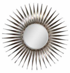 "SUNBURST MIRROR OPTION FOR OVER ROOM&BOARD ENTRY TABLE   Uttermost Sedona Silver Ray Beveled Mirror 42""DIA"