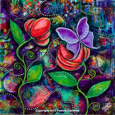 "Butterfly and Flowers Landscape Painting - Bold, Striking Colors - ""The Awakening"" 