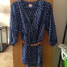 Sheer blue top with belt Sheer blue top with brown belt and a bird pattern from target. Never worn, really cute! Mossimo Supply Co Tops