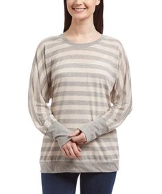Look what I found on #zulily! Karissa & Me Gray Stripe Long-Sleeve Top by Karissa & Me #zulilyfinds