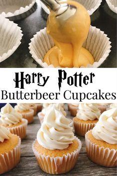 Cupcake Recipes, Baking Recipes, Cupcake Cakes, Snack Recipes, Book Cupcakes, Harry Potter Cupcakes, Harry Potter Food, Butterbeer Cake Recipe, Yummy Treats
