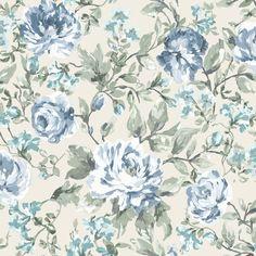 Painterly Blue & Cream Floral Wallpaper | Departments | DIY at B&Q