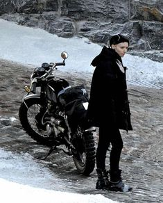 Rooney Mara - shoes and her Honda CL350