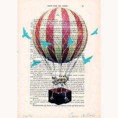 Illustrationen - Luftballon mit blauen Vögeln - ein Designerstück von CocoDeParis bei DaWanda