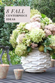 Seedum and Hydrangea | 8 Fall centerpiece ideas to try this season.