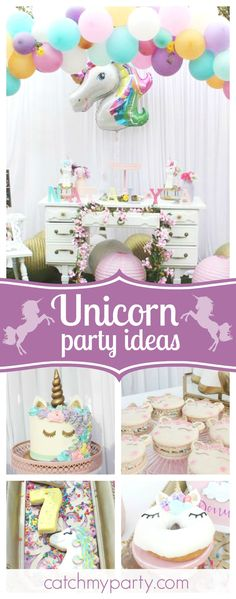 Take a look at this wonderful Magical Unicorn birthday party. The unicorn decorated donuts look delicious!! See  ore party ideas and share yours at CatchMyParty.com