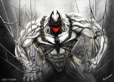 """ANTI VENOM >> A esto le sigue la esperable lucha Venom vsAnti-Venomy, con una pequeña ayuda de Spider-Man, Brock """"cura"""" a Gargan del simbionte. PeroAnti-Venomno pretende parar ahí ya que al percibir remanentes del simbionte en la sangre de Peter comienza a """"curarlo"""" también, llimpiándolo además de la radiación proveniente de la mordida arácnida que le otorga sus superpoderes (recordemos que el orígen totémico de los poderes arácnidos fue retconeado junto a mil cosas más tras OMD)."""