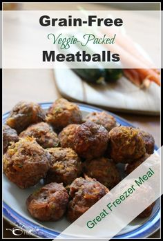 Grain Free Meatballs: Grated veggies are the perfect alternative to breadcrumbs! - Health, Home, & Happiness Gaps Diet Recipes, Healthy Dinner Recipes, Beef Recipes, Real Food Recipes, Paleo Meals, Freezer Cooking, Freezer Meals, Pumpkin Pasta Sauce, Grain Free