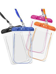 Waterproof Case, 4 Pack F-color Clear Transparent TPU Perfect for Rafting, Kayaking, Swimming, Boating, Fishing, Skiing, Protect iPhone 6S Plus SE, Galaxy S6 S7 Edge, LG G5 etc. Orange Blue Black Pink ❤ F-color