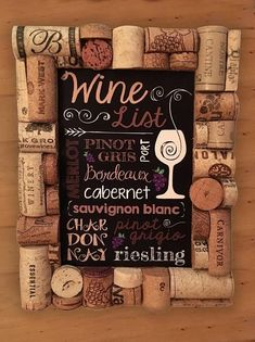 4 x 6 wooden frame decorated with recycled wine corks with wine list artwork inserted. Frame can be displayed vertically on a table or hung on a wall. Each frame is unique, no two alike! Perfect for the wine lover! Makes a great gift. Wine Cork Frame, Wine Cork Art, Old Wine Bottles, Wine Bottle Corks, Wine Craft, Wine Cork Crafts, Recycled Wine Corks, Wine Baskets, Wine Decor