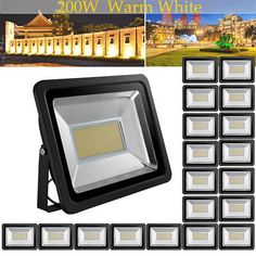 20X US Stock! 200W LED Floodlight Warm White Bright IP65 Outdoor Path Waterproof