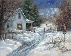 "I painted this picture many years ago. It's called ""Gentle Memory Christmas."" The little boy is pointing to the little dot in the sky which is supposed to be Santa's sleigh. This is a place not far from where I live. Jon McNaughton"