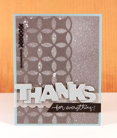card by November guest Kristina Werner using our Mister Huey's Calico white + intertwined circles mask