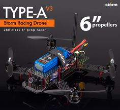 """Limited Time Offer -  StormType-A V3 has FREE UPGRADE  to the EMAX RS2205-2300kv motor and BeeRotor BRF3 FC.   The popluar and versatile 280 class FPV racer with 6"""" propellers Storm Type-A V3 Ready to Fly Edition with BeeRotor"""