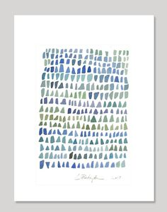 Aqua Sea Glass Watercolor painting Seaglass Abstract painting blue green ombre sea foam